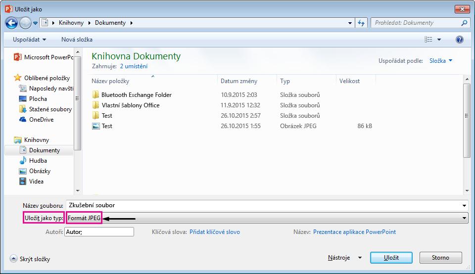 V dialogovém okně Uložit jako určete typ souboru, do kterého chcete snímek uložit.