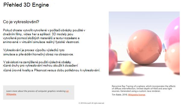 Snímek obrazovky v části základní informace o zásadách 3D obsahu
