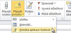 Příkaz Připojit položku aplikace Outlook na pásu karet