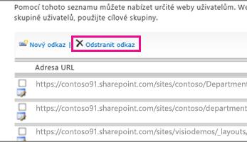 Snímek obrazovky s možnost odstranit odkaz na důvěryhodných webů.