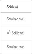 OneDrive pro firmy – zobrazení stavu sdílení