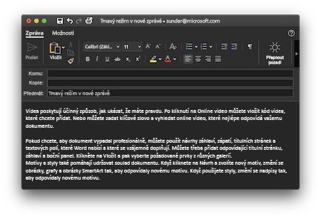 Tmavý režim okna pro psaní zpráv