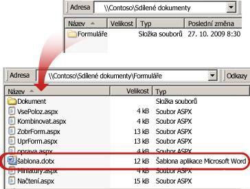 Obsah složky Formuláře v knihovně dokumentů