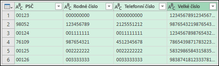 Získat & transformaci > převést data na text