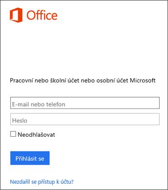 Snímek obrazovky s přihlašovací stránkou pro instalaci Office