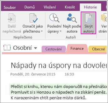 Snímek obrazovky s tlačítkem Skrýt autory v OneNotu 2016