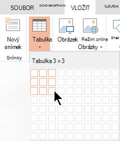 Na kartě Vložení vyberte Tabulka.