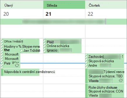 Co váš kalendář při sdílení s omezenými podrobnostmi vypadá pro uživatele.