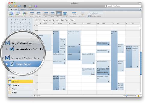 Outlook s několika kalendáři