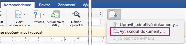 Na kartě Korespondence jsou vybrané možnosti Dokončit a sloučit a Vytisknout dokumenty