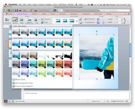 Rozhraní PowerPointu s pásem karet sady Office pro Mac