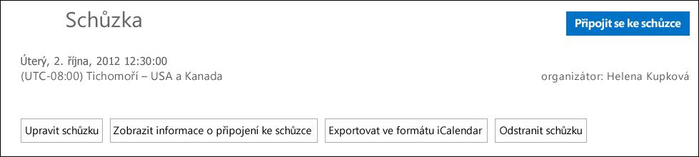 Snímek obrazovky s oknem Schůzka s možností exportu ve formátu iCalendaru