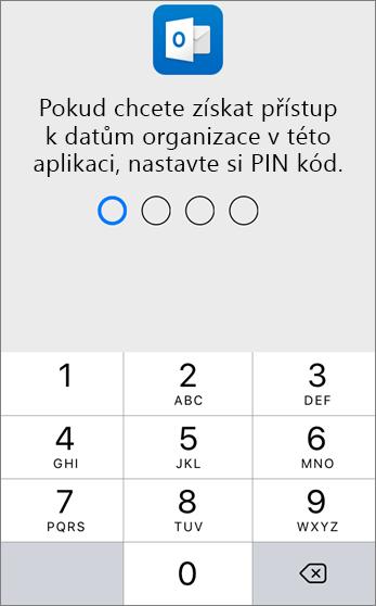 Nastavení kódu PIN pro přístup k datům organizace