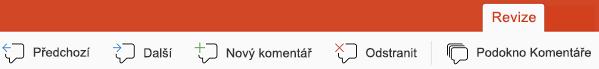 Tlačítka pro komentáře v PowerPointu pro iPad