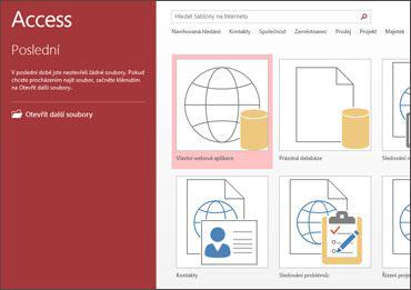 Uvítací obrazovka Accessu s vyhledávacím polem šablony a tlačítky Vlastní webová aplikace a Prázdná databáze plochy