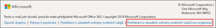 Office 365 Zápatí uvítací zprávy pro hosty skupiny