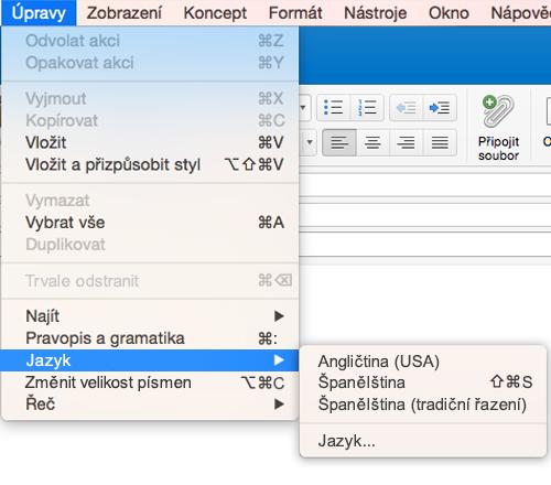 Jazykové nastavení Outlooku 2016 pro Mac v nabídce Úpravy