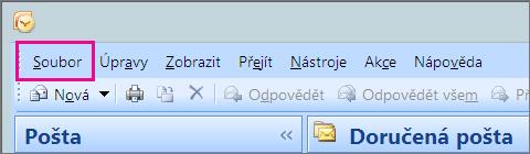 V Outlooku 2007 zvolte kartu Soubor.