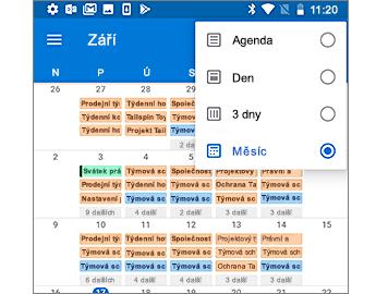 Kalendář se zobrazením měsíce