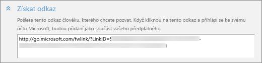 """Snímek obrazovky s detailem části """"Získat odkaz"""" dialogového okna """"Přidat člena"""""""