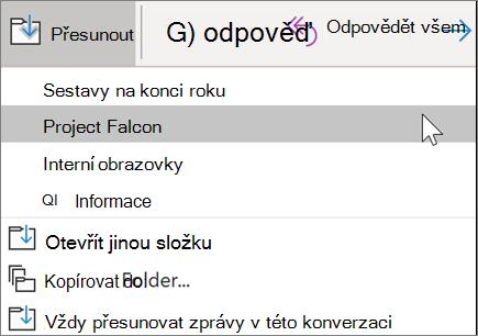 Přesunutí zprávy do složky v Outlooku