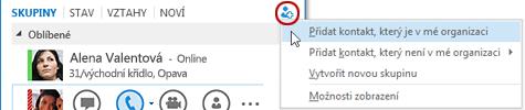 V hlavním okně Lyncu klikněte na tlačítko Přidat kontakt.
