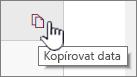 Kliknutím na ikonu Kopírovat data zkopírujte aktuální data webové části.