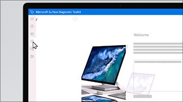 Snímek obrazovky se sadou diagnostických nástrojů pro Surface