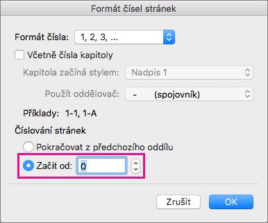 Abyste nastavili počáteční číslo stránky, vyberte Začít od apak zadejte číslo.