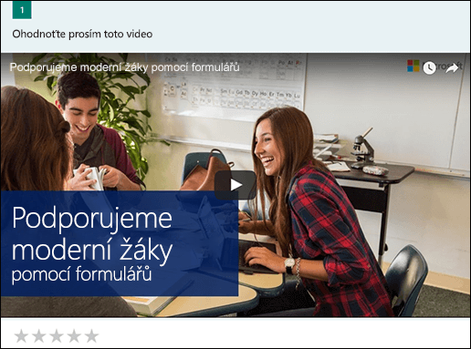 Vložení videa políčko YouTube pro Microsoft Forms