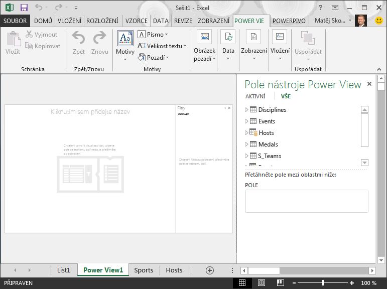 Prázdná sestava Power View v Excelu