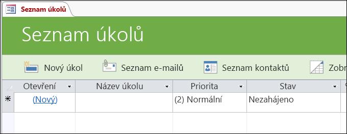 Formulář seznamu úkolů v šabloně accessové databáze Úkoly