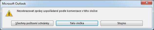 Dialogové okno pro změnu složek, které využívají zobrazení konverzací