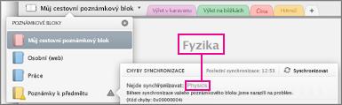 Seznam poznámkových bloků se synchronizační chybou