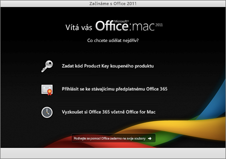 Snímek obrazovky s úvodní stránkou Office for Mac 2011