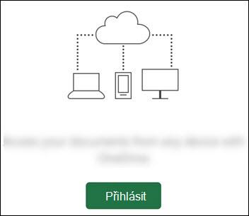 Různá zařízení připojená k cloudu. Dolní tlačítko přihlášení.