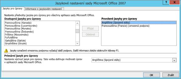 Nastavení jazyka v Office 2007