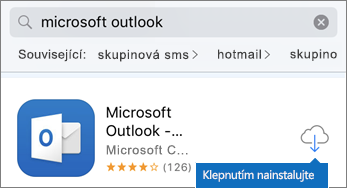 Klepnutím na ikonu cloudu nainstalujte Outlook