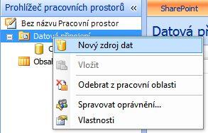 Možnost Nový zdroj dat v Prohlížeči pracovních prostorů