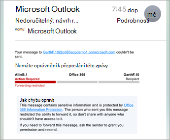 Příklad chráněného e-mailu na iPhonu nebo iPadu
