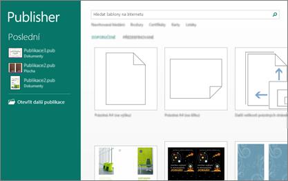 Snímek obrazovky se šablonami na úvodní obrazovce Publisheru.