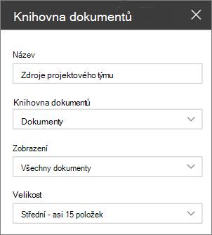 Nastavení webové části knihovny dokumentů