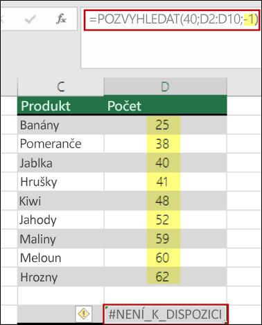 Funkce POZVYHLEDAT v Excelu
