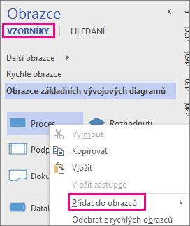 V zobrazení Vzorník klikněte pravým tlačítkem na obrazec a přidejte ho do vzorníku Moje obrazce.