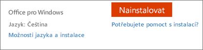 Jazykové a instalační možnosti Office 365