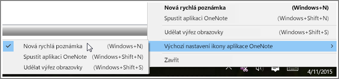 Snímek obrazovky s oznamovací oblastí hlavního panelu s možnostmi OneNotu