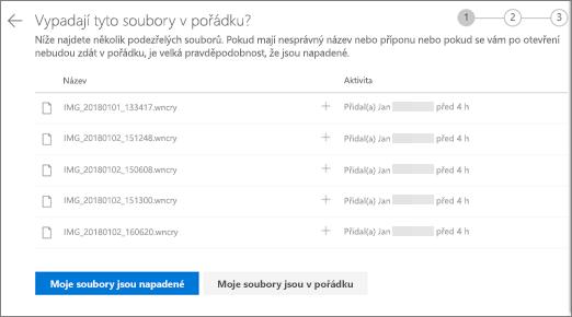 Snímek obrazovky s obrazovkou Do these files look right screen on the OneDrive website