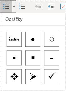 Výběr seznamu s odrážkami pomocí tlačítka na kartě Domů ve OneNotu pro Windows 10