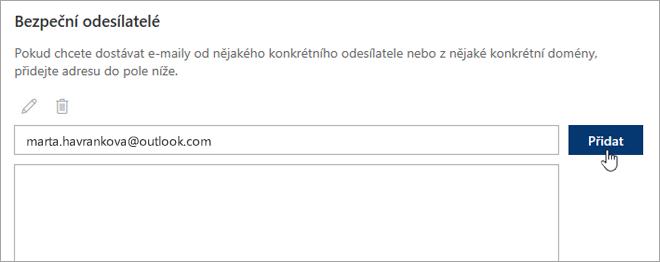 Snímek obrazovky se seznamem bezpečných odesílatelů