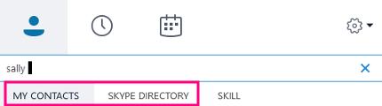 Když začnete psát do vyhledávacího pole ve Skypu pro firmy, změní se spodní karty na vlastní kontakty a adresář Skypu.
